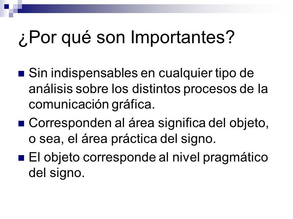 ¿Por qué son Importantes? Sin indispensables en cualquier tipo de análisis sobre los distintos procesos de la comunicación gráfica. Corresponden al ár