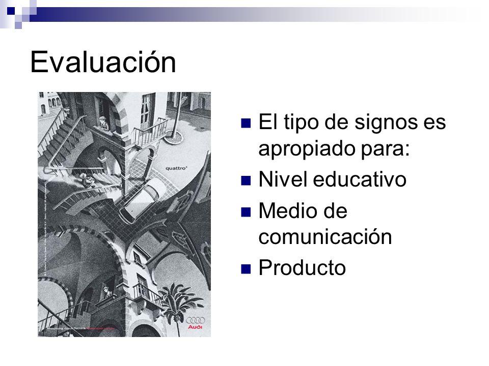 Evaluación El tipo de signos es apropiado para: Nivel educativo Medio de comunicación Producto