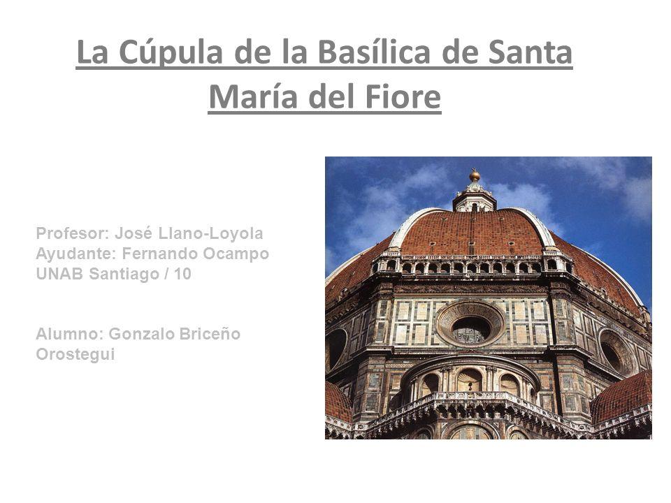 Ficha Técnica Fecha de construcción: 1418-1446 Arquitecto capilla: Arnolfo di Cambio Arquitecto cúpula: Filippo Brunelleschi Estilo: Gótico Usos: Catedral Materialidad: Ladrillo, piedra y mármol