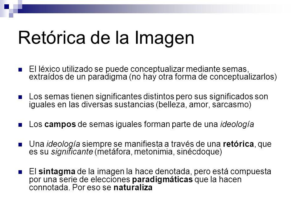 Retórica de la Imagen El léxico utilizado se puede conceptualizar mediante semas, extraídos de un paradigma (no hay otra forma de conceptualizarlos) L