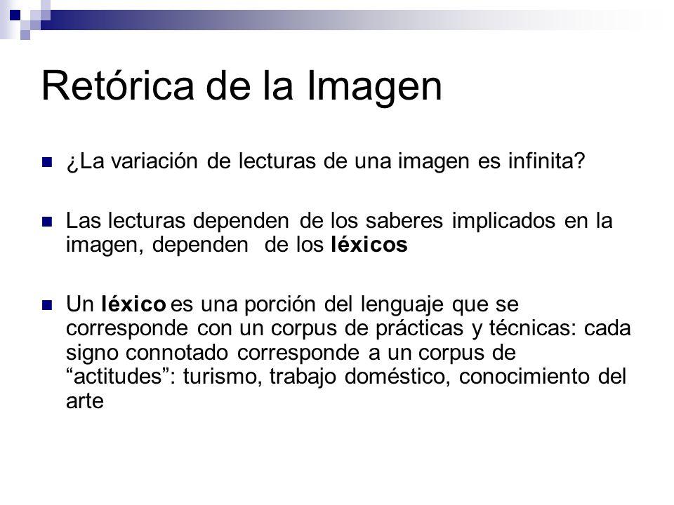 Retórica de la Imagen ¿La variación de lecturas de una imagen es infinita? Las lecturas dependen de los saberes implicados en la imagen, dependen de l
