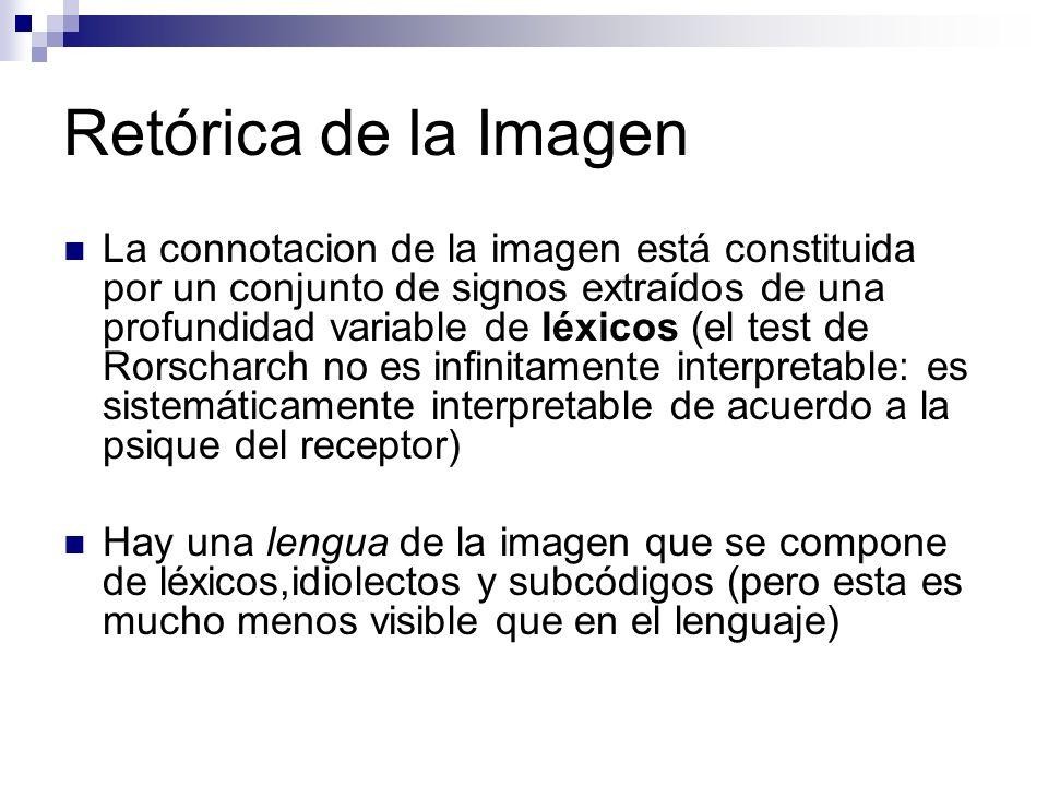 Retórica de la Imagen La connotacion de la imagen está constituida por un conjunto de signos extraídos de una profundidad variable de léxicos (el test