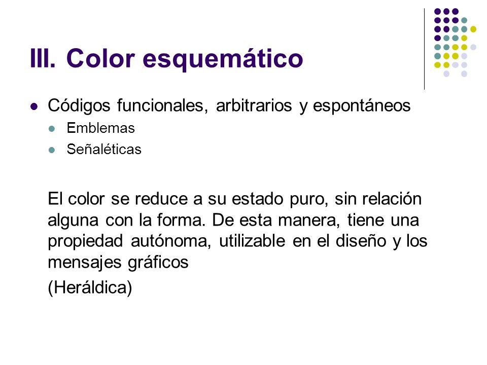 III. Color esquemático Códigos funcionales, arbitrarios y espontáneos Emblemas Señaléticas El color se reduce a su estado puro, sin relación alguna co