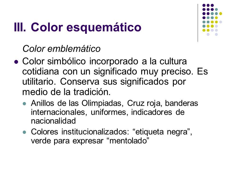 III. Color esquemático Color emblemático Color simbólico incorporado a la cultura cotidiana con un significado muy preciso. Es utilitario. Conserva su