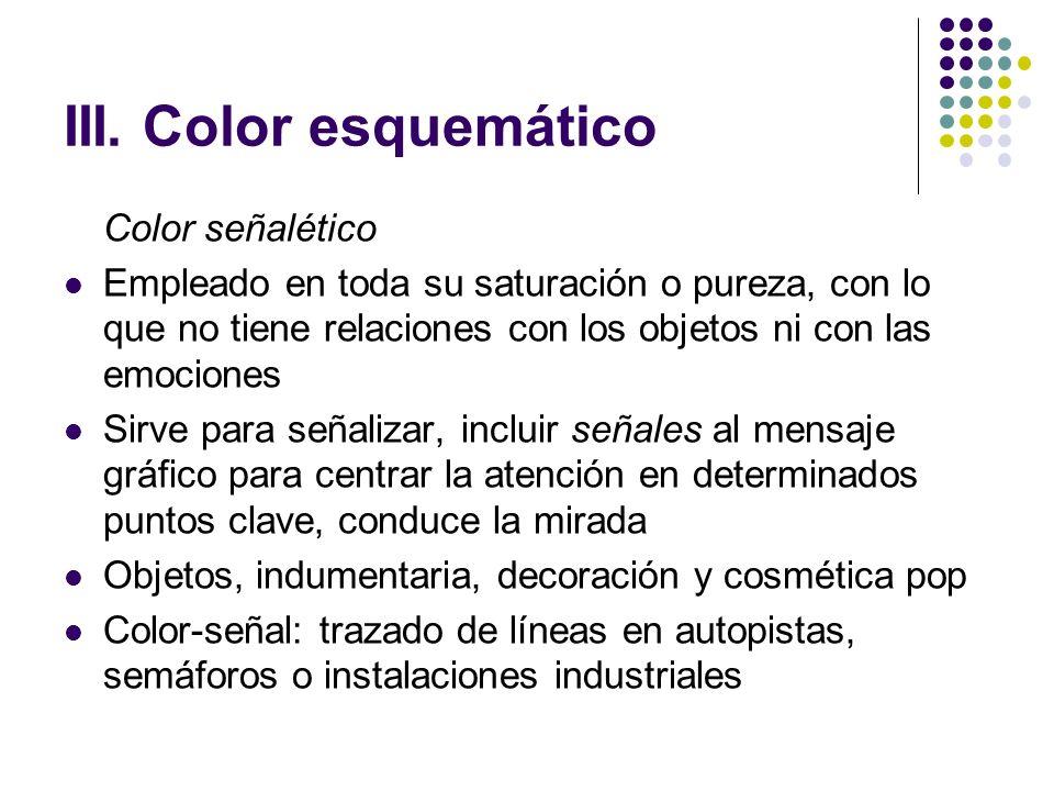 III. Color esquemático Color señalético Empleado en toda su saturación o pureza, con lo que no tiene relaciones con los objetos ni con las emociones S