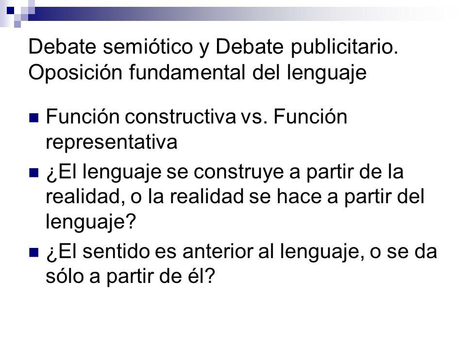 Debate semiótico y Debate publicitario. Oposición fundamental del lenguaje Función constructiva vs. Función representativa ¿El lenguaje se construye a