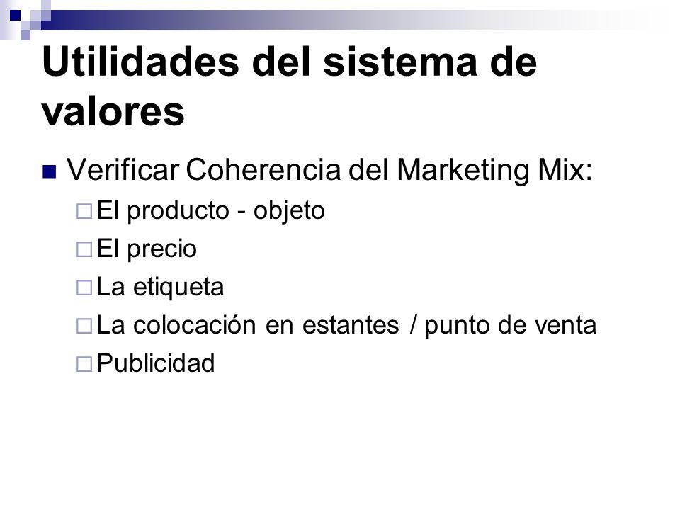 Utilidades del sistema de valores Verificar Coherencia del Marketing Mix: El producto - objeto El precio La etiqueta La colocación en estantes / punto