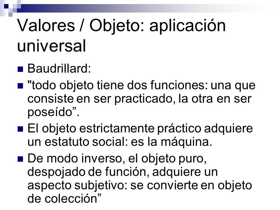 Valores / Objeto: aplicación universal Baudrillard: