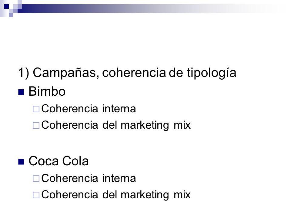 1) Campañas, coherencia de tipología Bimbo Coherencia interna Coherencia del marketing mix Coca Cola Coherencia interna Coherencia del marketing mix