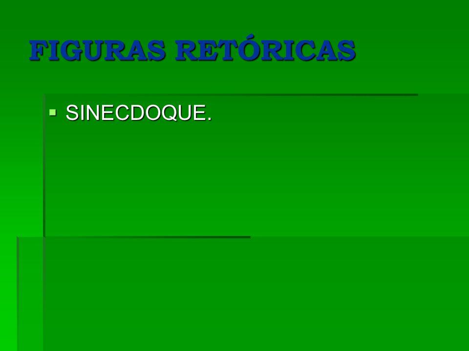 FIGURAS RETÓRICAS SINECDOQUE. SINECDOQUE.
