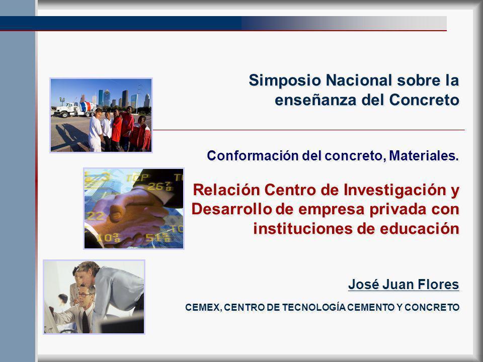 Simposio Nacional sobre la enseñanza del Concreto Conformación del concreto, Materiales.
