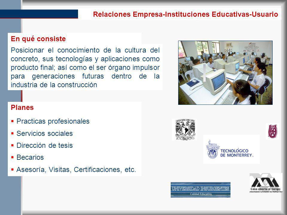 Relaciones Empresa-Instituciones Educativas-Usuario Practicas profesionales Servicios sociales Dirección de tesis Becarios Asesoría, Visitas, Certificaciones, etc.