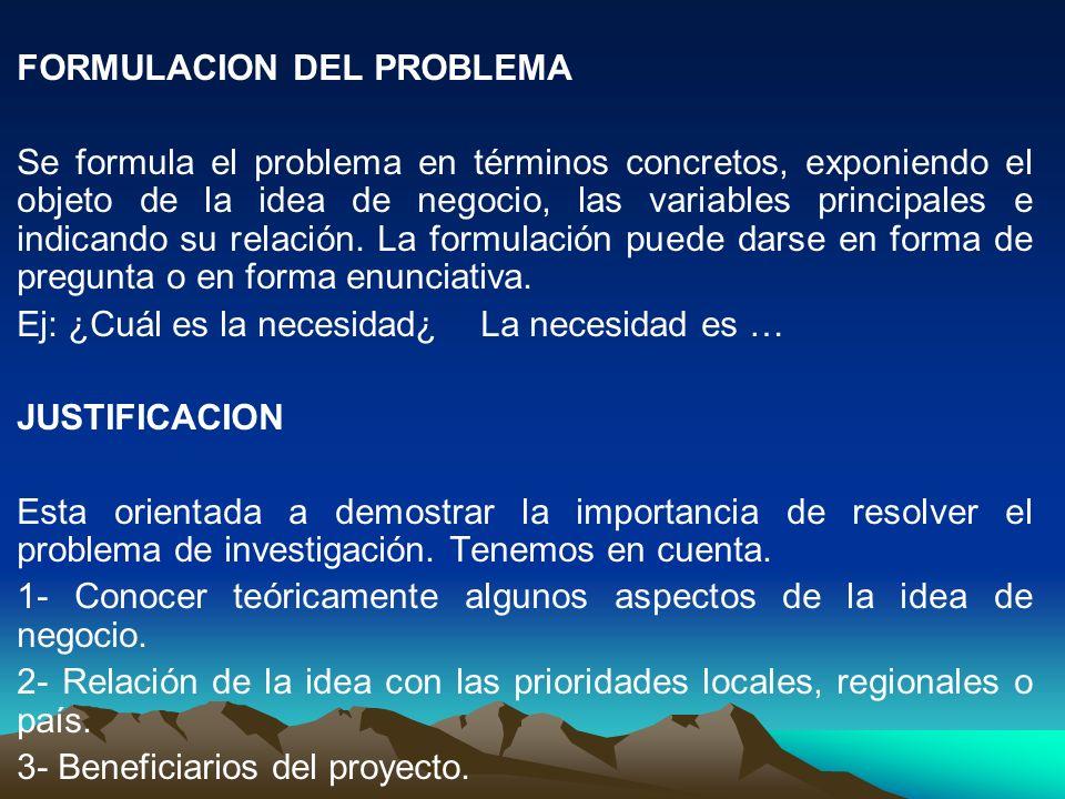 FORMULACION DEL PROBLEMA Se formula el problema en términos concretos, exponiendo el objeto de la idea de negocio, las variables principales e indican