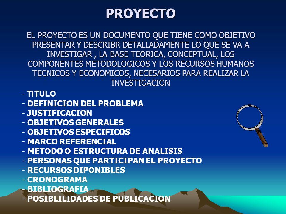 METODOLOGIA FORMULACION Y EVALUACION DEL PROYECTO - INTRODUCION - DESCRIPCION DEL PROBLEMA - JUSTIFICACION - OBJETIVO GENERAL - OBJETIVOS ESPECIFICOS - MARCOS DE REFERENCIA - DISEÑO METODOLOGICO - ESTUDIO DE MERCADO - ANALISIS DEL SECTOR Y DE LA EMPRESA - ANALISIS DEL MERCADO PROPIAMENTE DICHO PRODUCTO/SERVICIO CLIENTES COMPETENCIA TAMAÑO DEL MERCADO GLOBAL TAMAÑO DE MI MERCADO