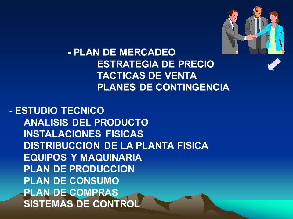 - PLAN DE MERCADEO ESTRATEGIA DE PRECIO TACTICAS DE VENTA PLANES DE CONTINGENCIA - ESTUDIO TECNICO ANALISIS DEL PRODUCTO INSTALACIONES FISICAS DISTRIB