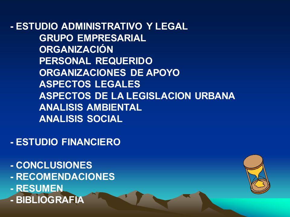 - ESTUDIO ADMINISTRATIVO Y LEGAL GRUPO EMPRESARIAL ORGANIZACIÓN PERSONAL REQUERIDO ORGANIZACIONES DE APOYO ASPECTOS LEGALES ASPECTOS DE LA LEGISLACION