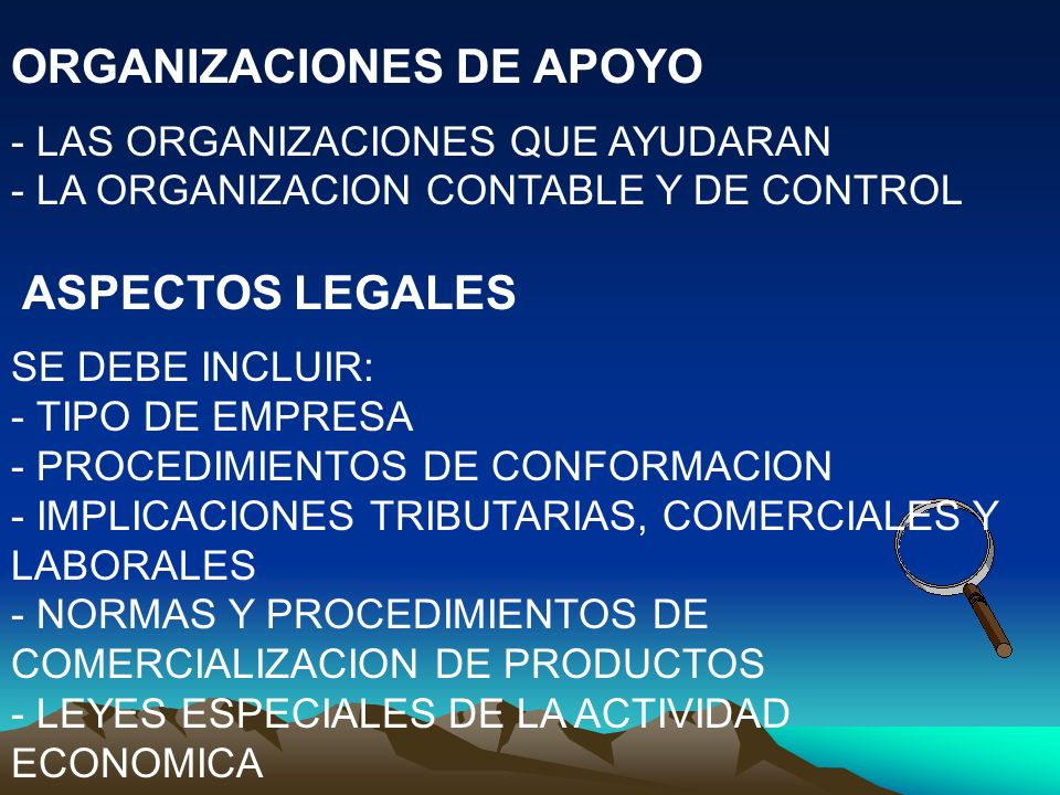 ASPECTOS LEGISLACION URBANA - REGLAMENTACION URBANA PARA EL FUNCIONAMIENTO DEL NEGOCIO - TRAMITES Y PERMISOS - MANEJO DE MATERIAS PRIMAS Y PRODUCTOS - REGIMEN DE IMPORTACION Y EXPORTACION ANALISIS AMBIENTAL - EMISIONES, EFLUENTES Y RESIDUOS - RIESGOS DE CONTAMINACION DE E-E-R - MECANISMOS DE CONTROL DE CONTAMINACION - RIESGOS DE LA COMUNIDAD POR E-E-R - RIESGOS PARA LOS TERABAJADORES - HIGIENE Y SEGURIDAD INDUSTRIAL