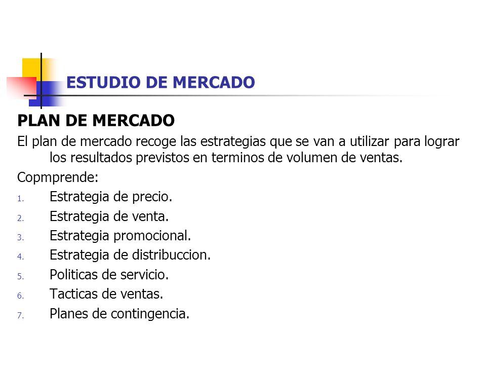 PLAN DE MERCADO El plan de mercado recoge las estrategias que se van a utilizar para lograr los resultados previstos en terminos de volumen de ventas.