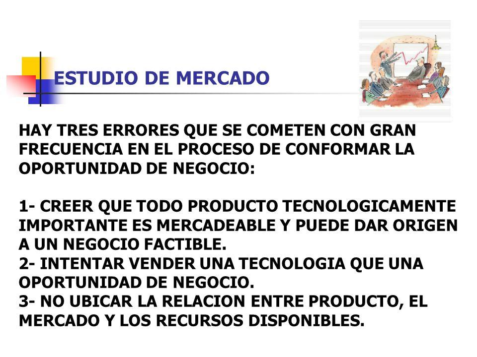 ESTUDIO DE MERCADO HAY TRES ERRORES QUE SE COMETEN CON GRAN FRECUENCIA EN EL PROCESO DE CONFORMAR LA OPORTUNIDAD DE NEGOCIO: 1- CREER QUE TODO PRODUCT