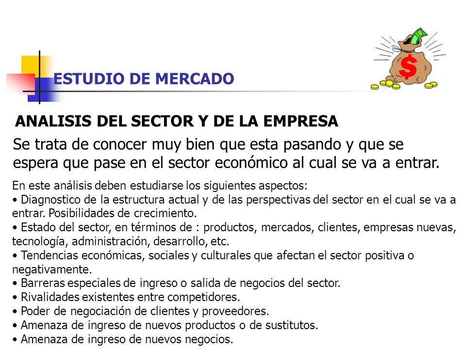 ESTUDIO DE MERCADO ANALISIS DEL SECTOR Y DE LA EMPRESA Se trata de conocer muy bien que esta pasando y que se espera que pase en el sector económico a