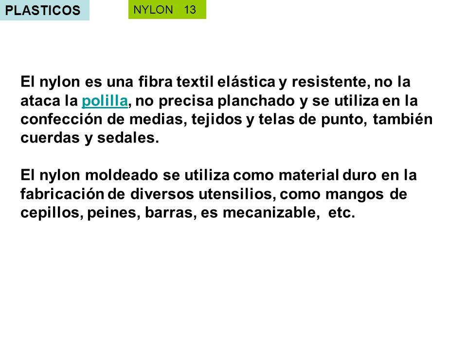 PLASTICOS El nylon es una fibra textil elástica y resistente, no la ataca la polilla, no precisa planchado y se utiliza en la confección de medias, te