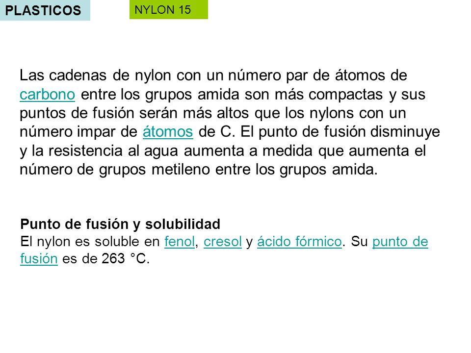 PLASTICOS Las cadenas de nylon con un número par de átomos de carbono entre los grupos amida son más compactas y sus puntos de fusión serán más altos que los nylons con un número impar de átomos de C.