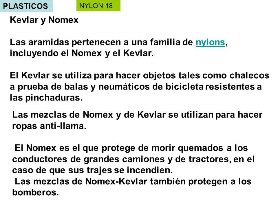 PLASTICOS Kevlar y Nomex Las aramidas pertenecen a una familia de nylons, incluyendo el Nomex y el Kevlar.nylons El Kevlar se utiliza para hacer objetos tales como chalecos a prueba de balas y neumáticos de bicicleta resistentes a las pinchaduras.