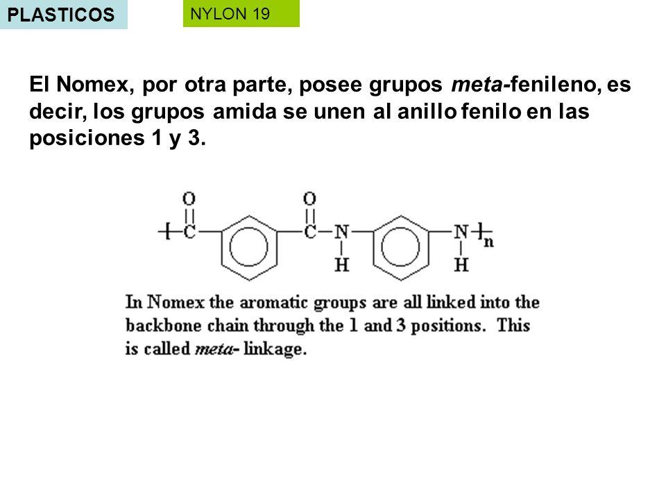 PLASTICOS El Nomex, por otra parte, posee grupos meta-fenileno, es decir, los grupos amida se unen al anillo fenilo en las posiciones 1 y 3. NYLON 19
