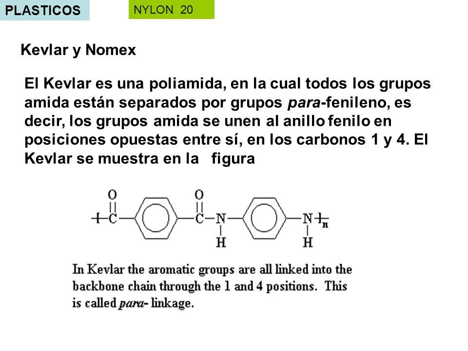PLASTICOS Kevlar y Nomex El Kevlar es una poliamida, en la cual todos los grupos amida están separados por grupos para-fenileno, es decir, los grupos amida se unen al anillo fenilo en posiciones opuestas entre sí, en los carbonos 1 y 4.