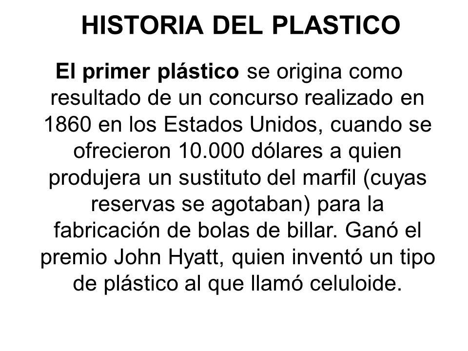 El primer plástico se origina como resultado de un concurso realizado en 1860 en los Estados Unidos, cuando se ofrecieron 10.000 dólares a quien produjera un sustituto del marfil (cuyas reservas se agotaban) para la fabricación de bolas de billar.