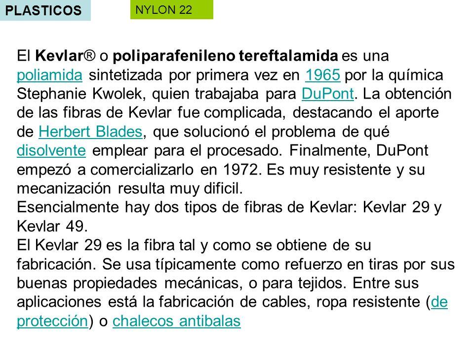 PLASTICOS NYLON 22 El Kevlar® o poliparafenileno tereftalamida es una poliamida sintetizada por primera vez en 1965 por la química Stephanie Kwolek, q