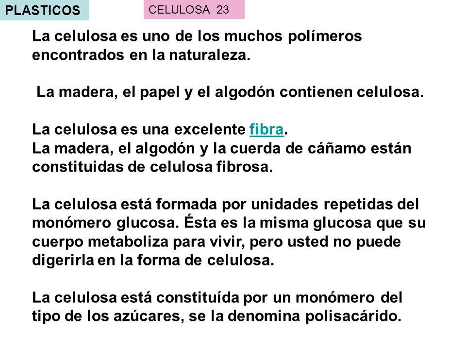 PLASTICOS La celulosa es uno de los muchos polímeros encontrados en la naturaleza. La madera, el papel y el algodón contienen celulosa. La celulosa es