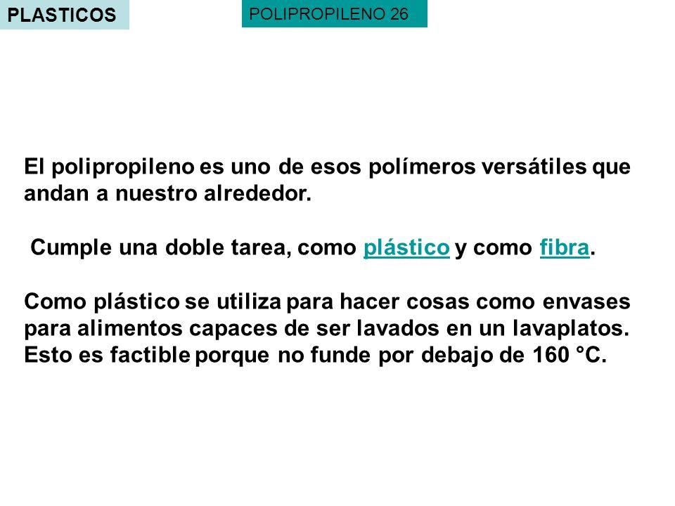 PLASTICOS El polipropileno es uno de esos polímeros versátiles que andan a nuestro alrededor. Cumple una doble tarea, como plástico y como fibra.plást