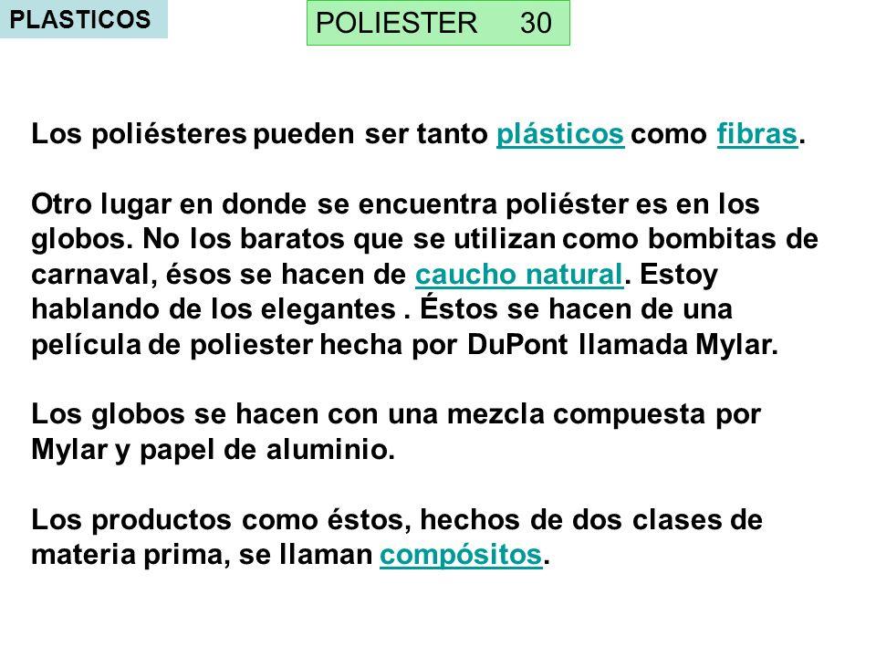 PLASTICOS Los poliésteres pueden ser tanto plásticos como fibras.plásticosfibras Otro lugar en donde se encuentra poliéster es en los globos.