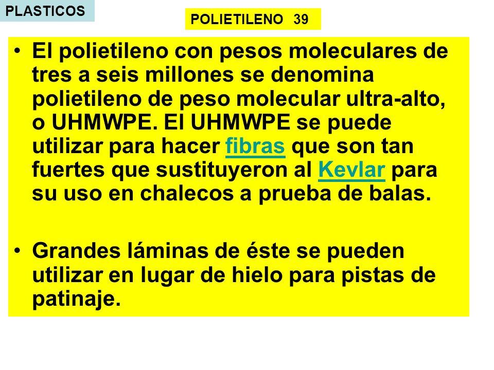 PLASTICOS El polietileno con pesos moleculares de tres a seis millones se denomina polietileno de peso molecular ultra-alto, o UHMWPE. El UHMWPE se pu
