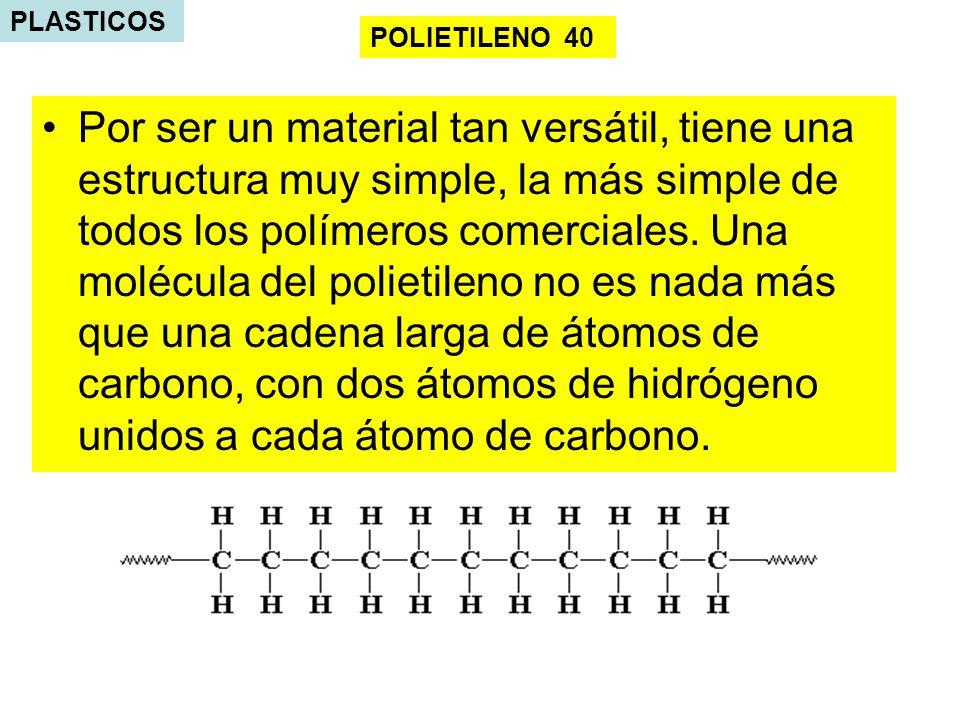 PLASTICOS Por ser un material tan versátil, tiene una estructura muy simple, la más simple de todos los polímeros comerciales. Una molécula del poliet