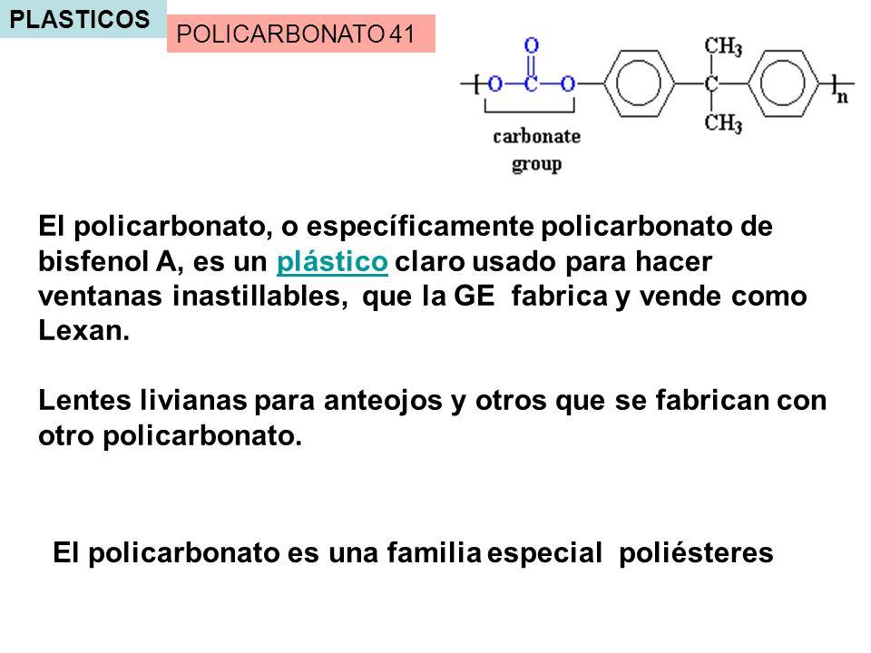 PLASTICOS El policarbonato es una familia especial poliésteres El policarbonato, o específicamente policarbonato de bisfenol A, es un plástico claro u