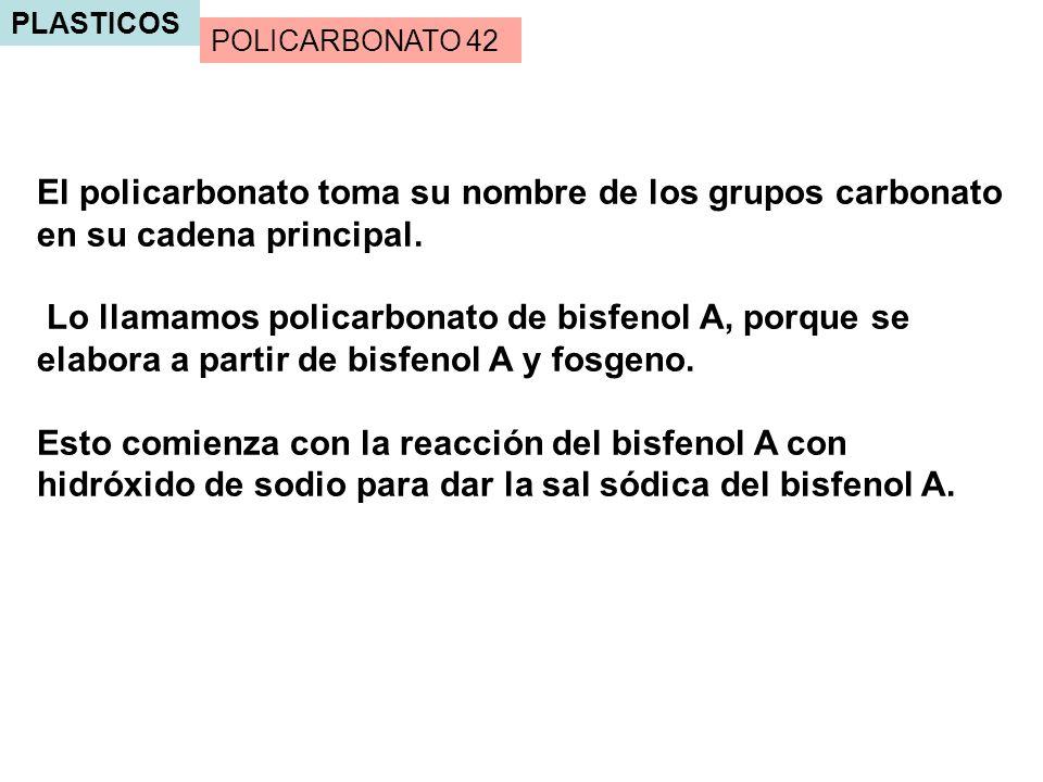 PLASTICOS El policarbonato toma su nombre de los grupos carbonato en su cadena principal. Lo llamamos policarbonato de bisfenol A, porque se elabora a