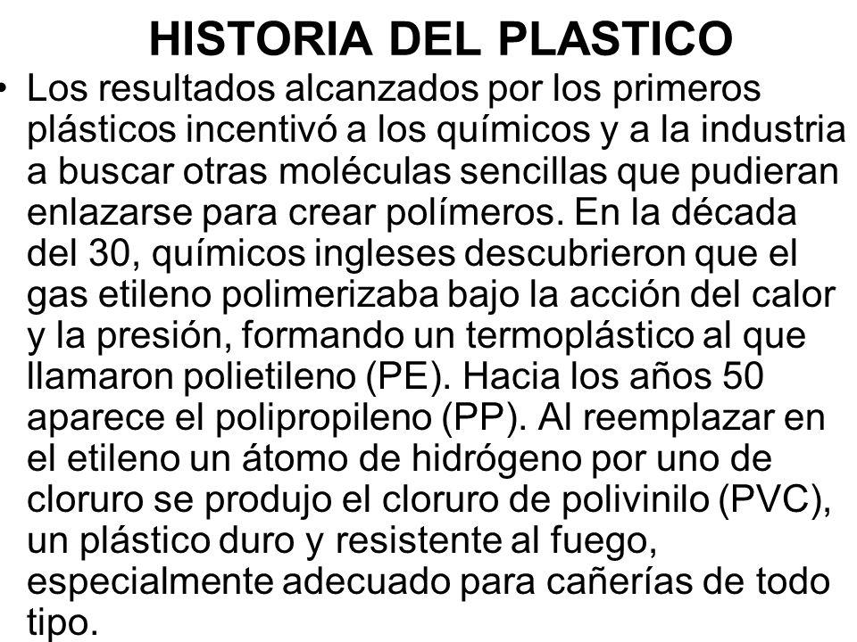 HISTORIA DEL PLASTICO Los resultados alcanzados por los primeros plásticos incentivó a los químicos y a la industria a buscar otras moléculas sencillas que pudieran enlazarse para crear polímeros.