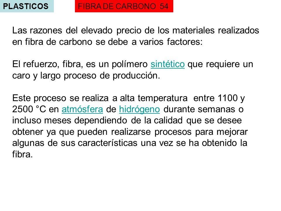 PLASTICOSFIBRA DE CARBONO 54 Las razones del elevado precio de los materiales realizados en fibra de carbono se debe a varios factores: El refuerzo, f