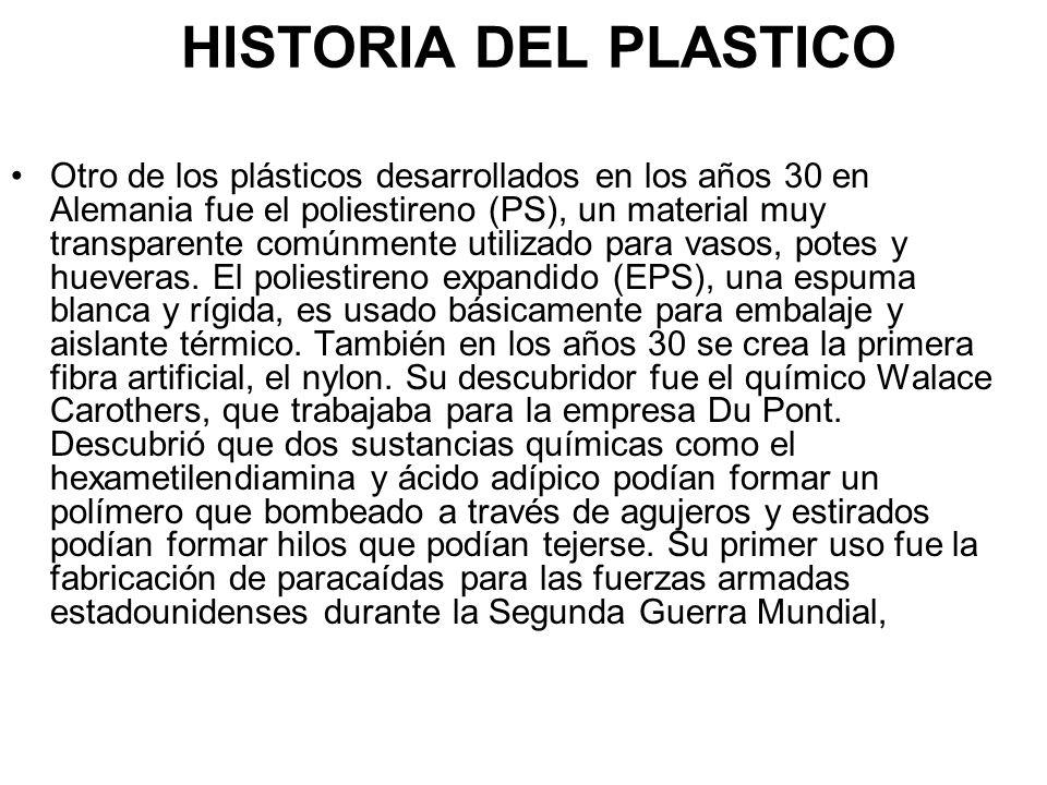 HISTORIA DEL PLASTICO Otro de los plásticos desarrollados en los años 30 en Alemania fue el poliestireno (PS), un material muy transparente comúnmente utilizado para vasos, potes y hueveras.