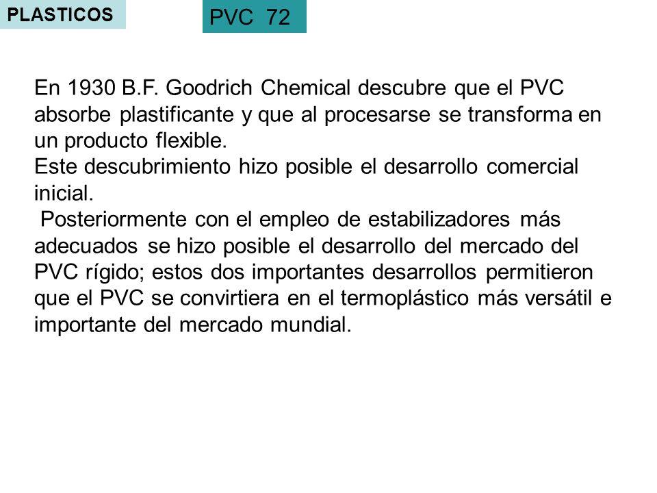 PLASTICOS PVC 72 En 1930 B.F. Goodrich Chemical descubre que el PVC absorbe plastificante y que al procesarse se transforma en un producto flexible. E
