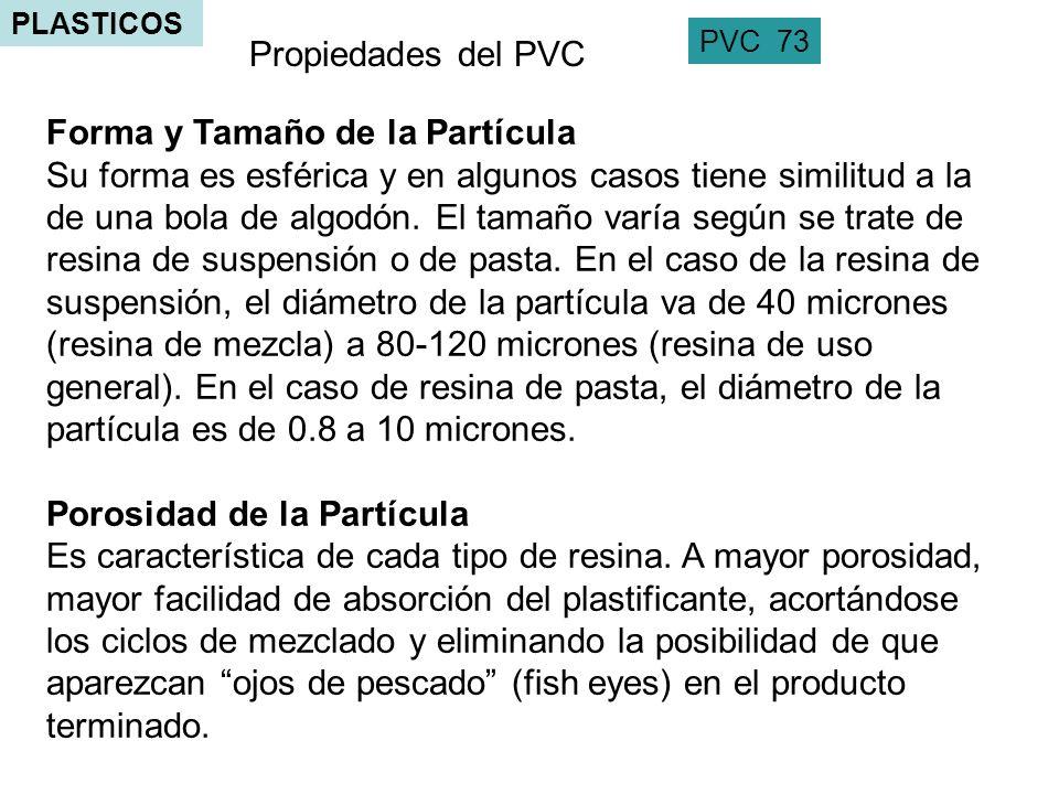 PLASTICOS PVC 73 Propiedades del PVC Forma y Tamaño de la Partícula Su forma es esférica y en algunos casos tiene similitud a la de una bola de algodó
