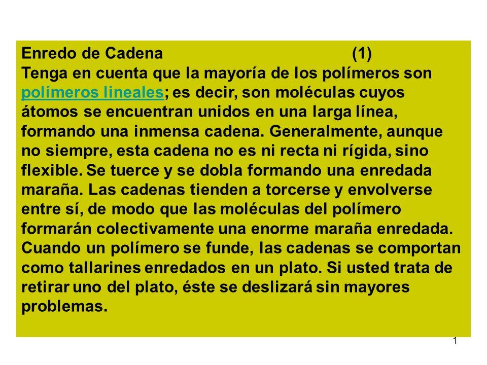 1 Enredo de Cadena (1) Tenga en cuenta que la mayoría de los polímeros son polímeros lineales; es decir, son moléculas cuyos átomos se encuentran unid