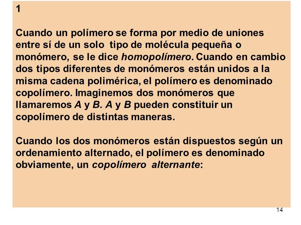 14 1 Cuando un polímero se forma por medio de uniones entre sí de un solo tipo de molécula pequeña o monómero, se le dice homopolímero. Cuando en camb
