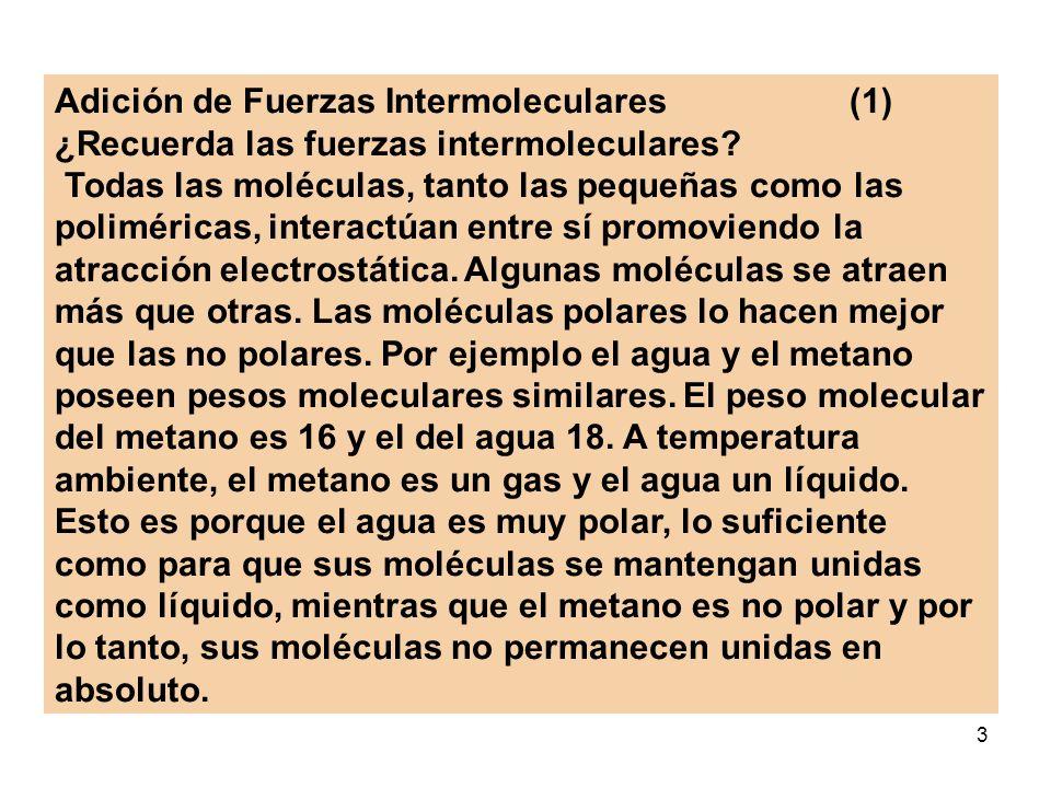 3 Adición de Fuerzas Intermoleculares (1) ¿Recuerda las fuerzas intermoleculares? Todas las moléculas, tanto las pequeñas como las poliméricas, intera