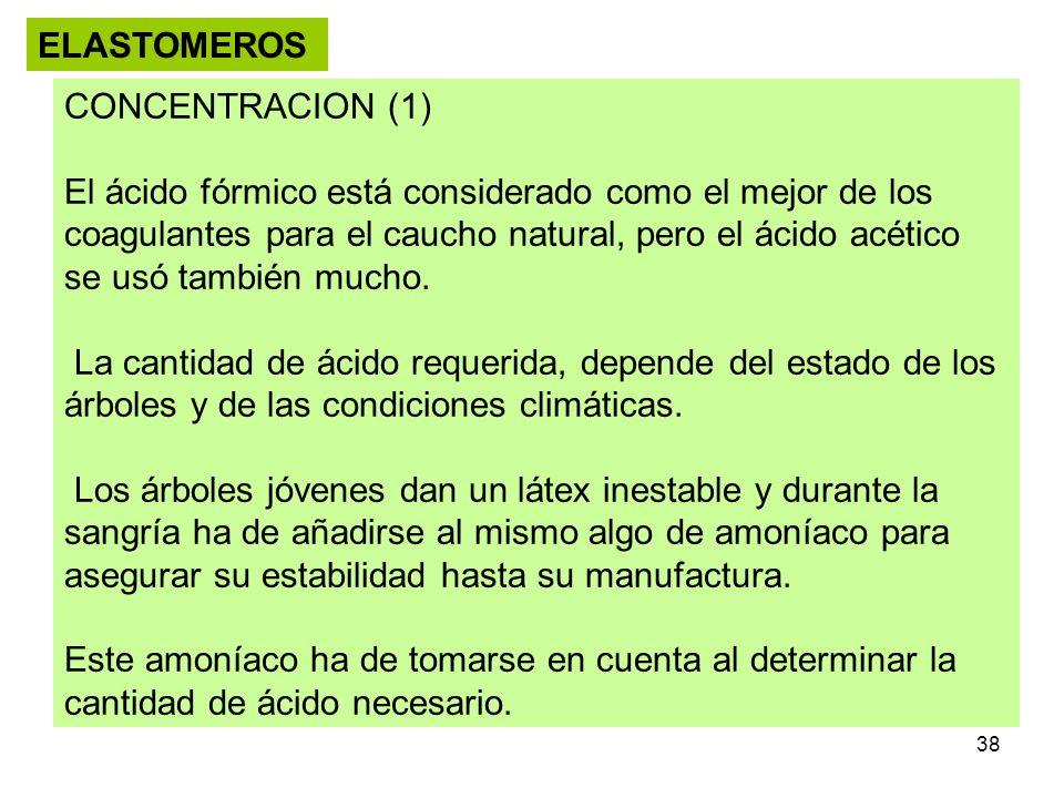 38 ELASTOMEROS CONCENTRACION (1) El ácido fórmico está considerado como el mejor de los coagulantes para el caucho natural, pero el ácido acético se u