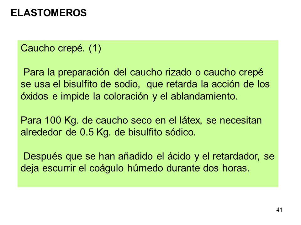 41 ELASTOMEROS Caucho crepé. (1) Para la preparación del caucho rizado o caucho crepé se usa el bisulfito de sodio, que retarda la acción de los óxido