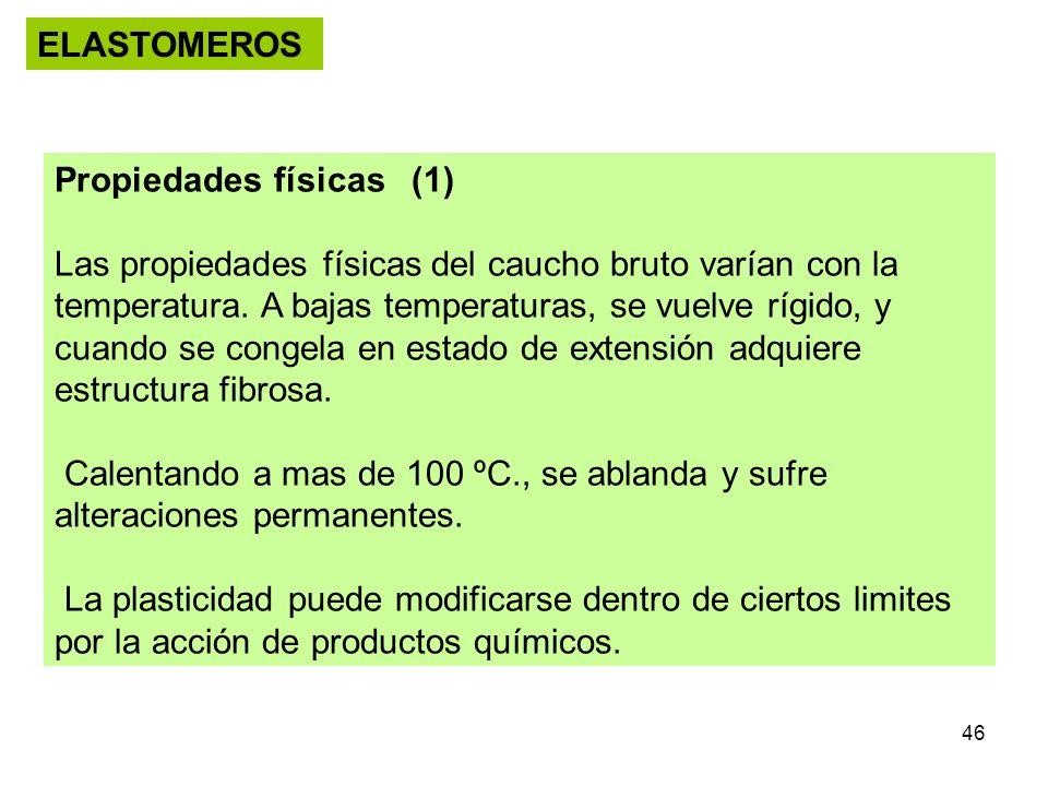 46 ELASTOMEROS Propiedades físicas (1) Las propiedades físicas del caucho bruto varían con la temperatura. A bajas temperaturas, se vuelve rígido, y c