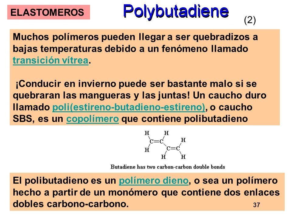 53 ELASTOMEROS Muchos polímeros pueden llegar a ser quebradizos a bajas temperaturas debido a un fenómeno llamado transición vítrea. transición vítrea
